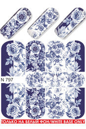 Blue & White Willow Water Slide Decal