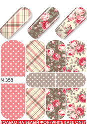Coral Cream Plaid Floral Water Slide Decal