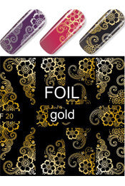 Gold Foil Swirls & Floral Water Slide Decal
