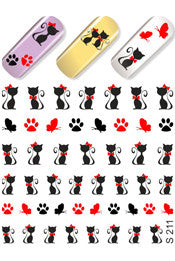 Kitty Silhouettes Water Slide Decal