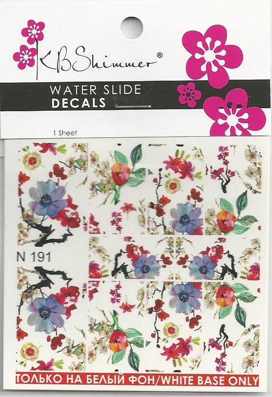 Watercolor Floral Water Slide Decal