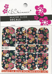 Dark Floral Water Slide Decal
