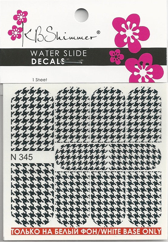 Houndstooth Print Water Slide Decal
