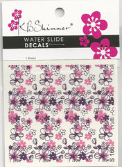 Pink & Purple Flowers Water Slide Decal