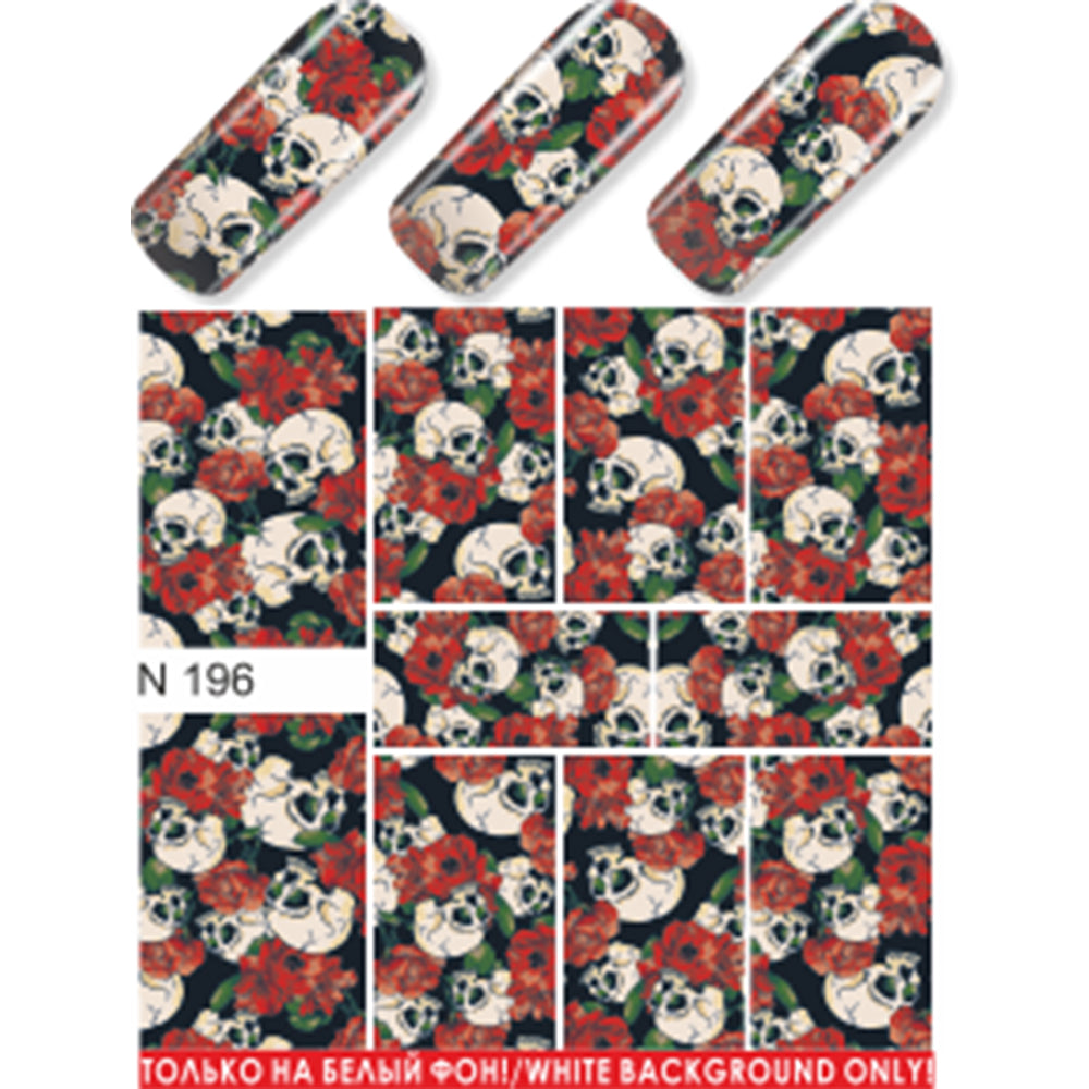 Skulls & Roses Water Slide Decal