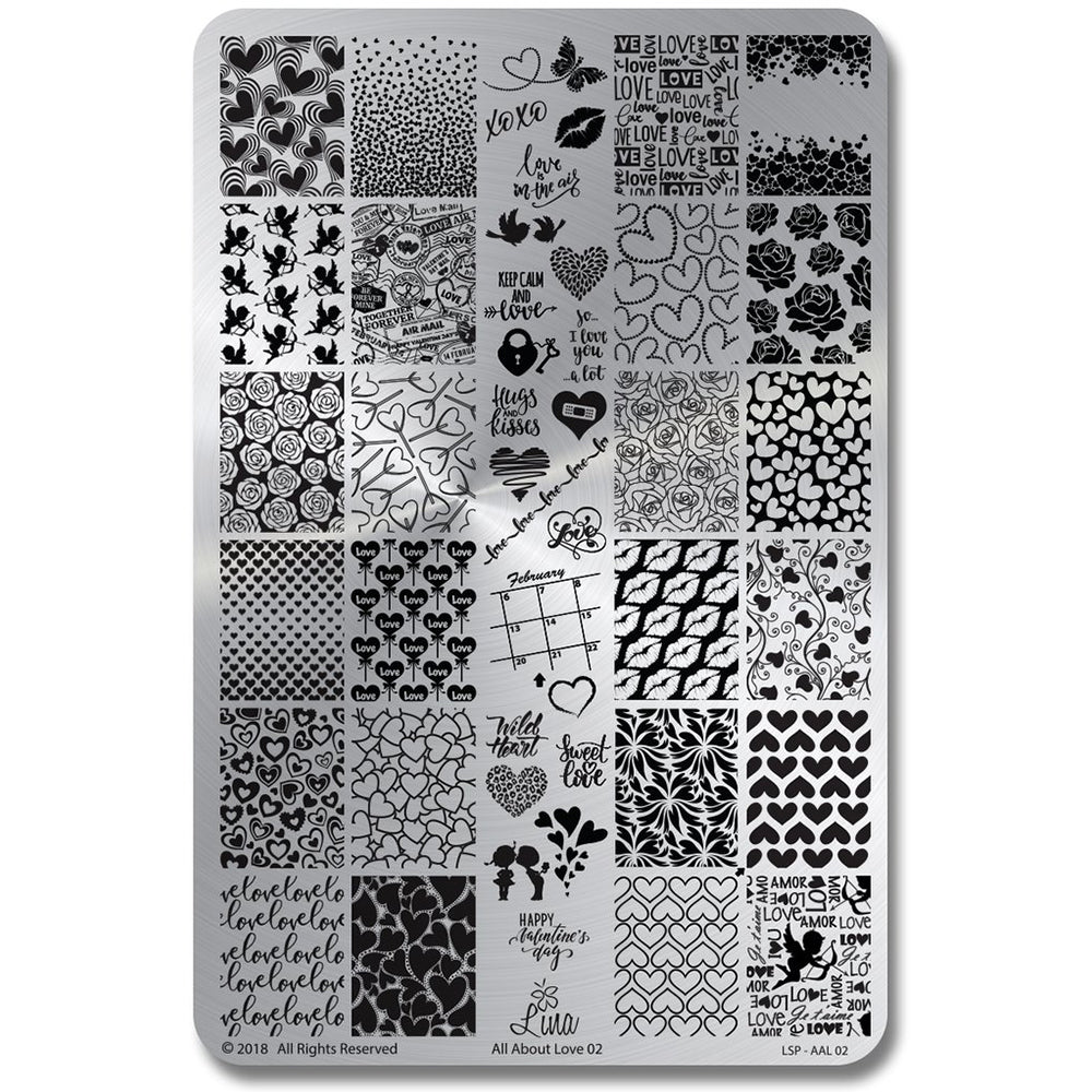 Lina Nail Art Supplies All About Love 02 stamping plate