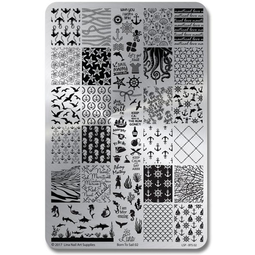 Lina Nail Art Supplies Born to Sail 02 stamping plate