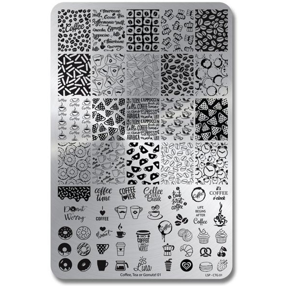 Lina Nail Art Supplies Coffee Tea or Gonuts 01 stamping plate