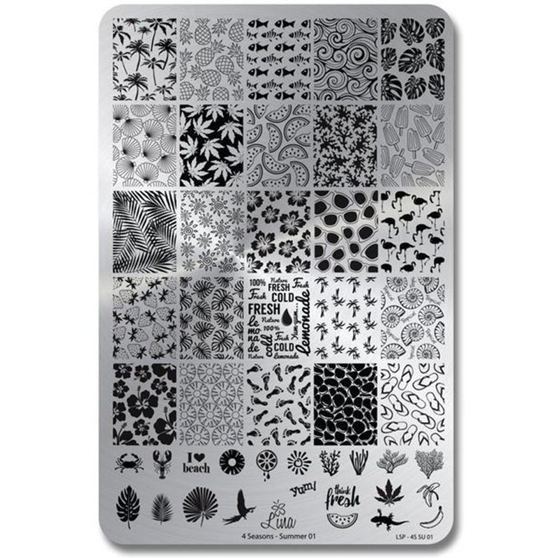 Lina Nail Art Supplies Four Seasons Summer 01 stamping plate