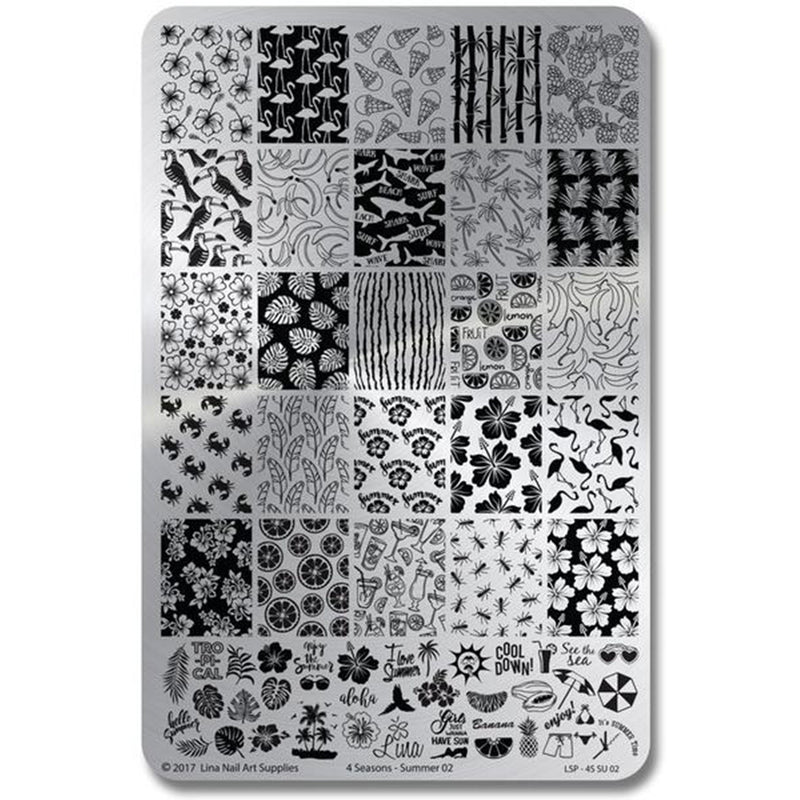 Lina Nail Art Supplies Four Seasons Summer 02 stamping plate