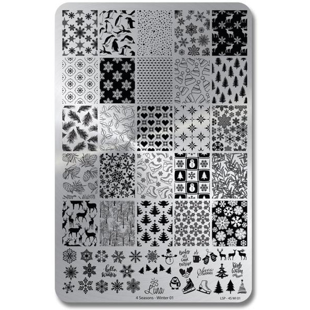 Lina Nail Art Supplies Four Seasons Winter 01 stamping plate
