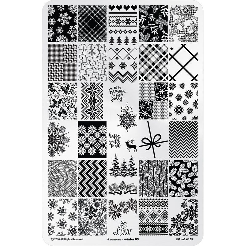 Lina Nail Art Supplies Four Seasons Winter 03 stamping plate nail art