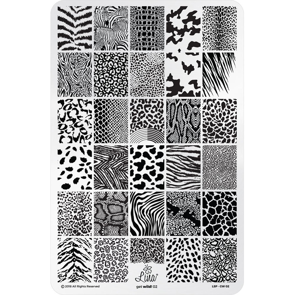 Lina Nail Art Supplies Get Wild 02 stamping plate nail art animal print