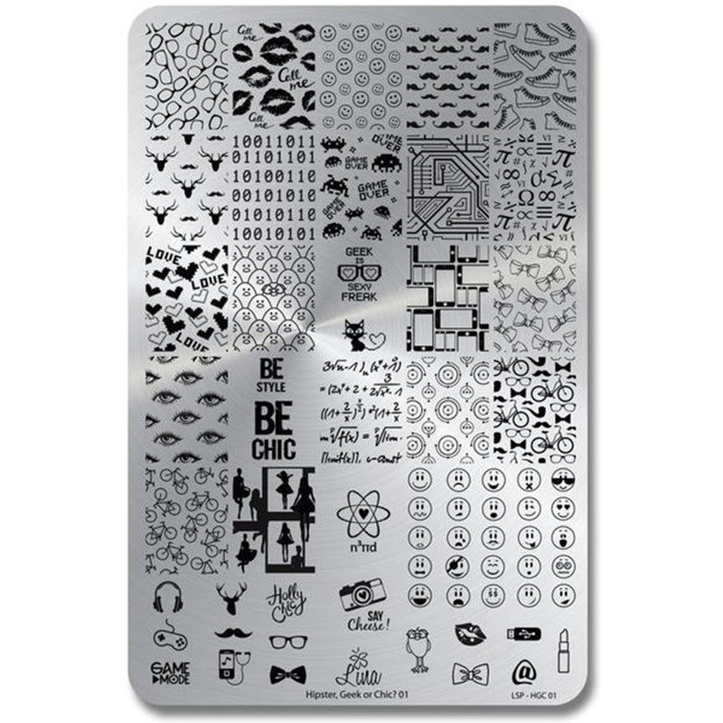 Lina Nail Art Supplies Hipster Geek or Chic 01 stamping plate