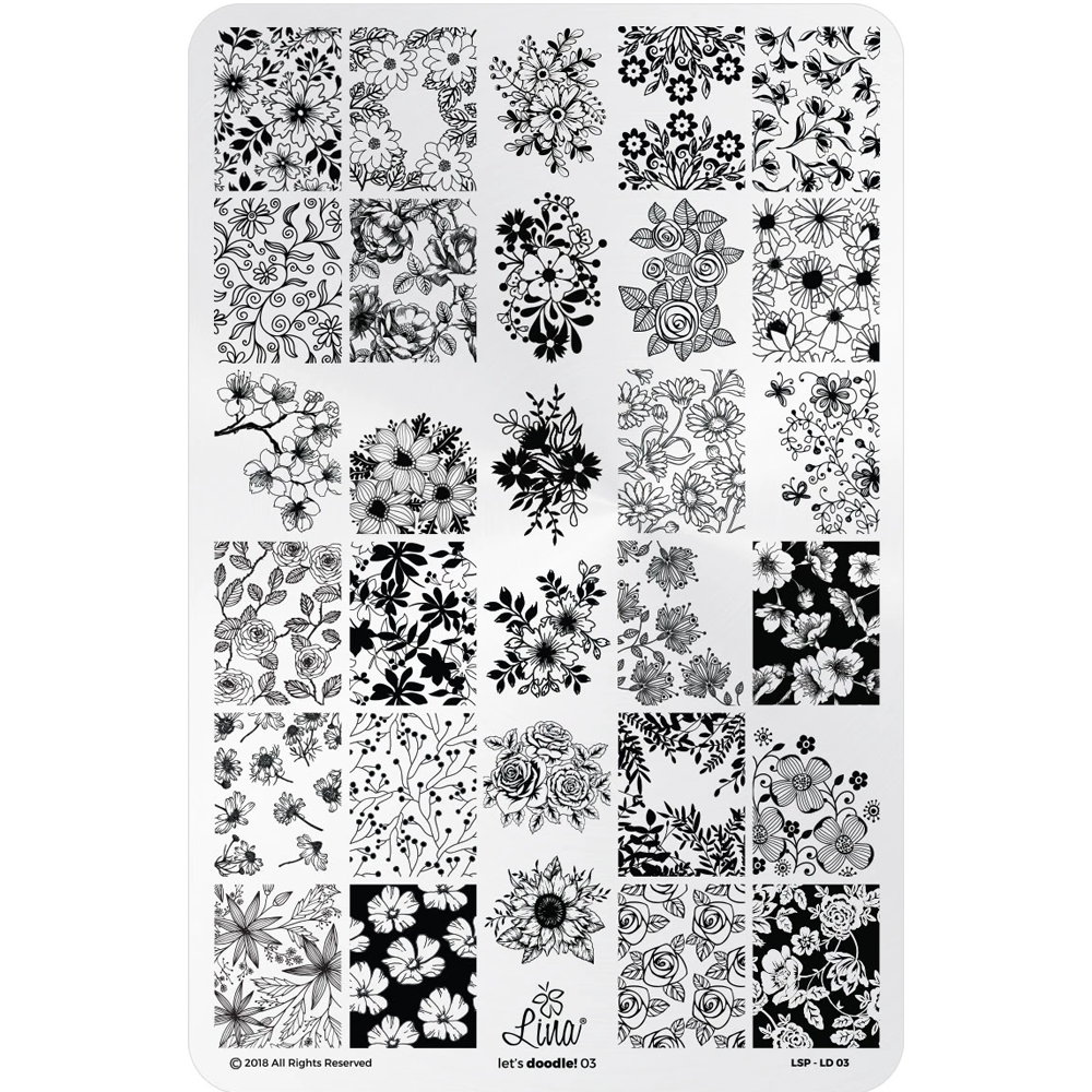 Lina Nail Art Supplies Let's Doodle 03 stamping plate