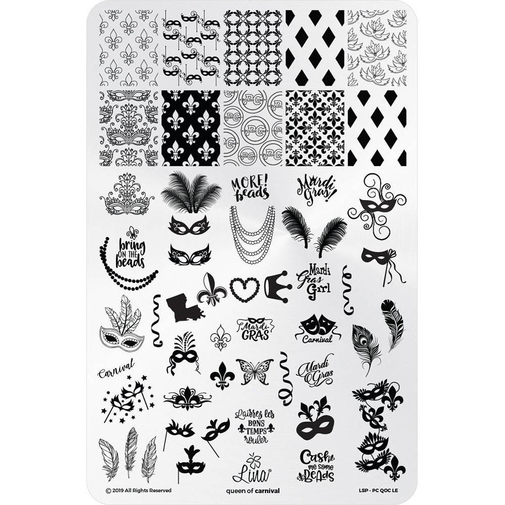 Lina Nail Art Supplies Queen of Carnival stamping plate nail art