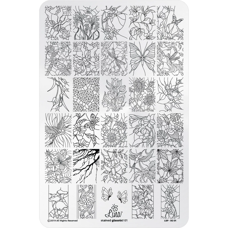 Lina Nail Art Supplies Stained Glasstic 01 stamping plate