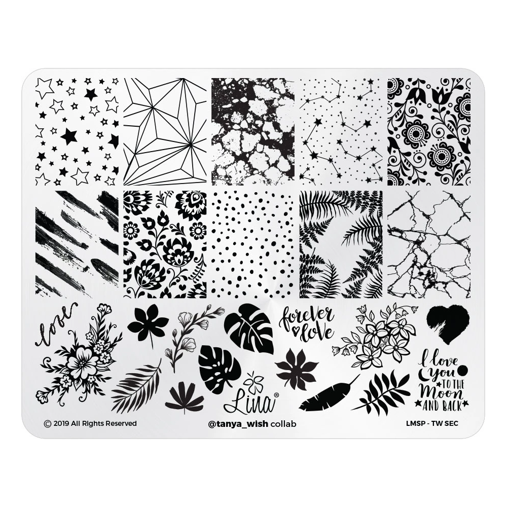 Lina Nail Art Supplies @tanya_wish Collaboration Stamping Plate