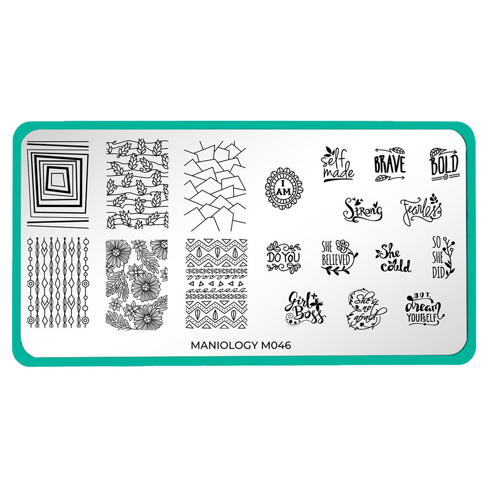 Maniology Women's Empowerment - Self Made Stamping Plate M046