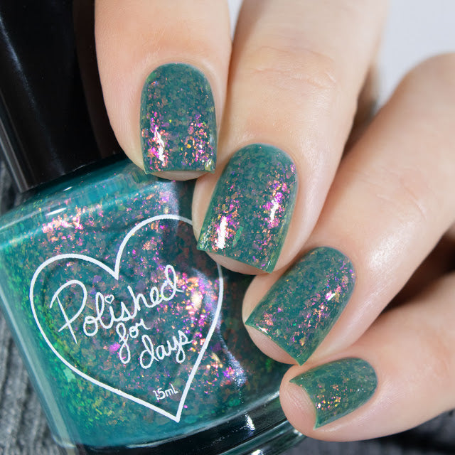 Polished for Days Meadow green flakie nail polish Woodland Holiday Collection