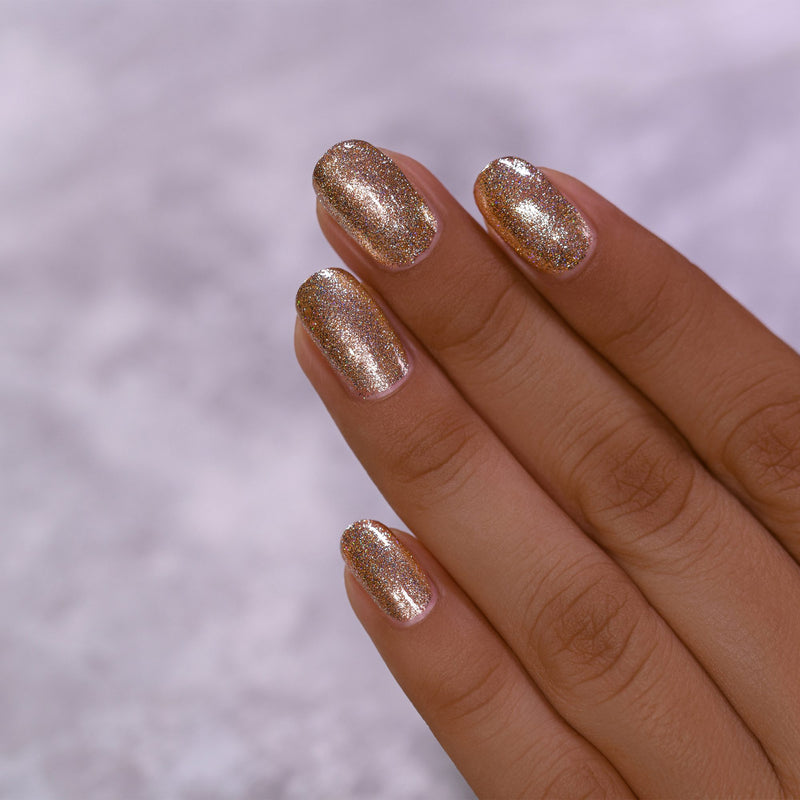ILNP Mirage brilliant gold holographic ultra metallic nail polish swatch Reflections Collection