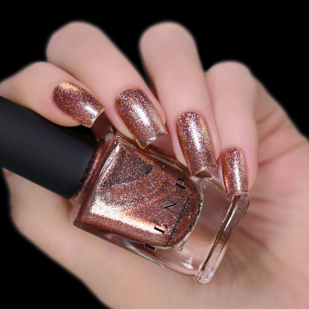 ILNP Muse radiant copper holographic ultra metallic nail polish swatch Reflections Collection