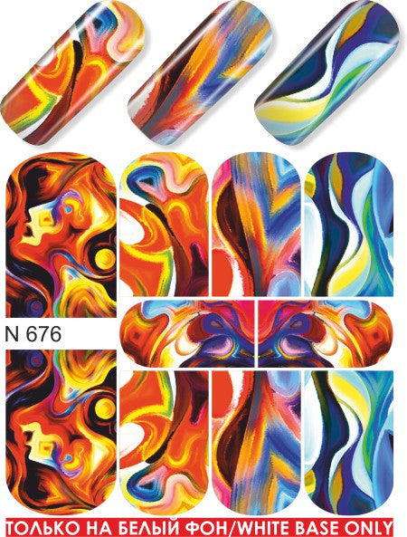 Fiery Swirls & Drips Water Slide Decal
