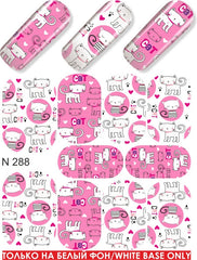 Ginger & Pink Kitties Water Slide Decal
