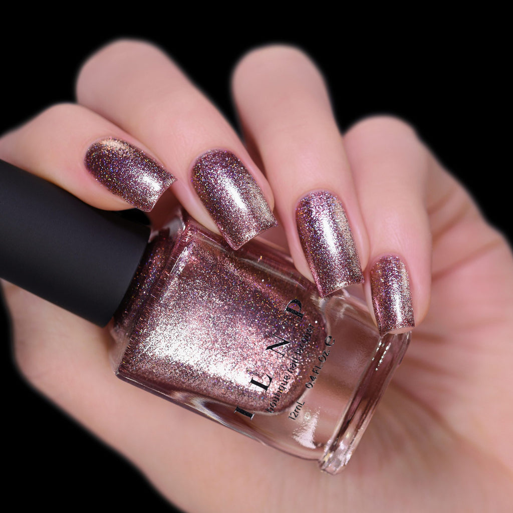 ILNP Olivia chocolate-rose holographic ultra metallic nail polish swatch Reflections Collection