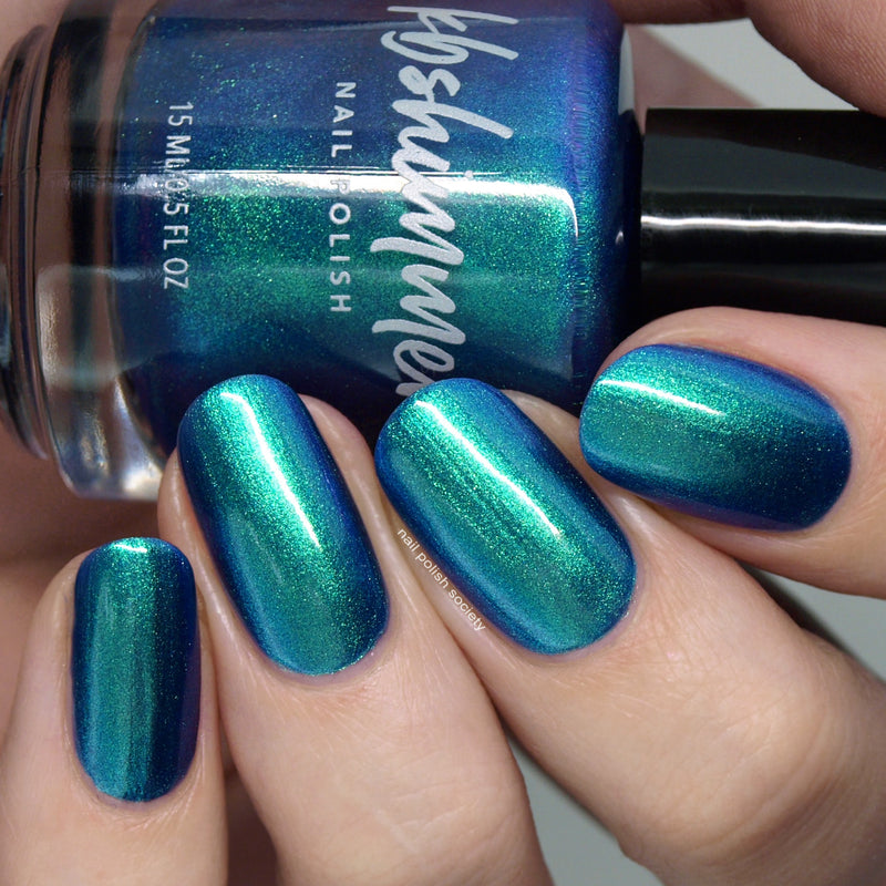 KBShimmer The Tide Is Right blue to green multichrome nail polish swatch Beach Break Collection