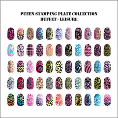 Pueen Buffet Leisure Nail Art Plate Set
