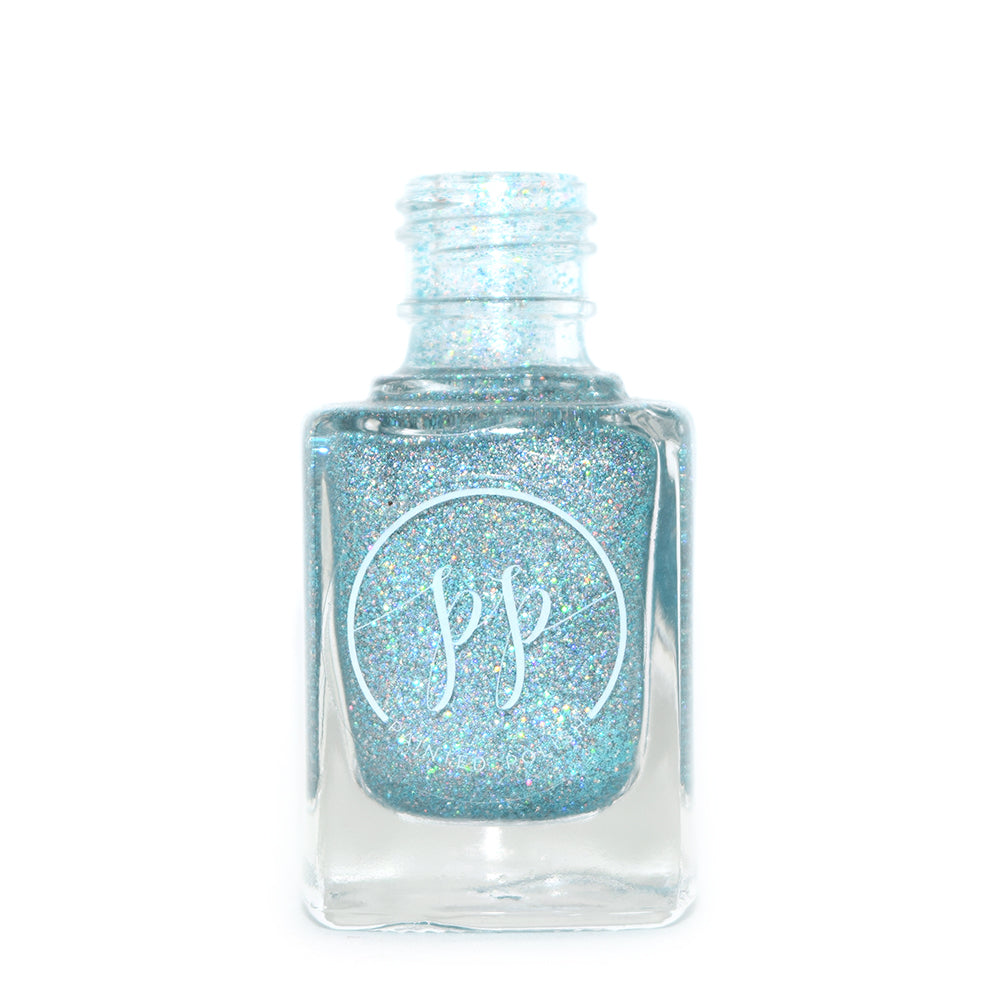 Painted Polish Beach Bombshell light blue holographic glitter nail polish