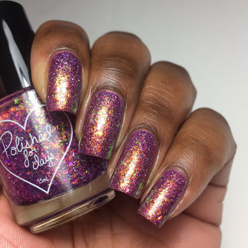 Polished for Days Woodnote flakie nail polish swatch Enchanted Woods Collection