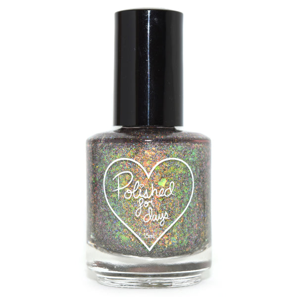 Polished for Days Birch green flakie nail polish