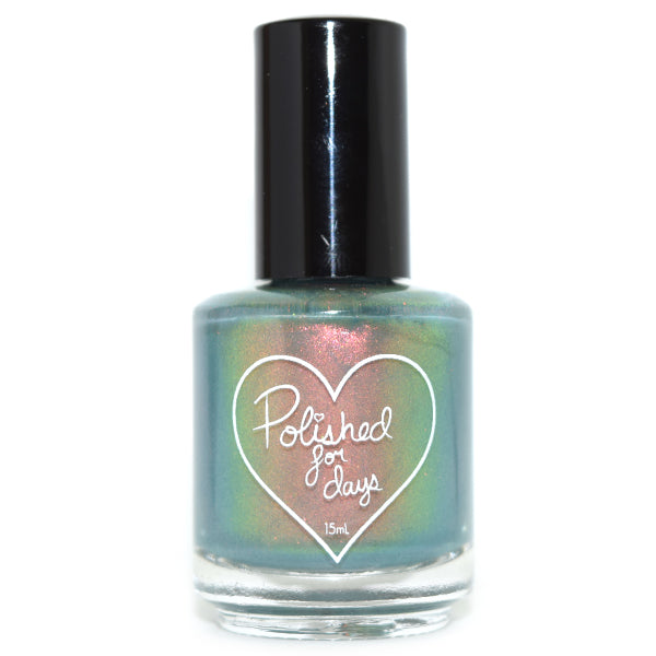 Polished for Days Juniper green to orange shimmer nail polish