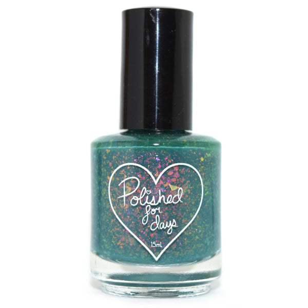 Polished for Days Meadow green with iridescent flakies nail polish