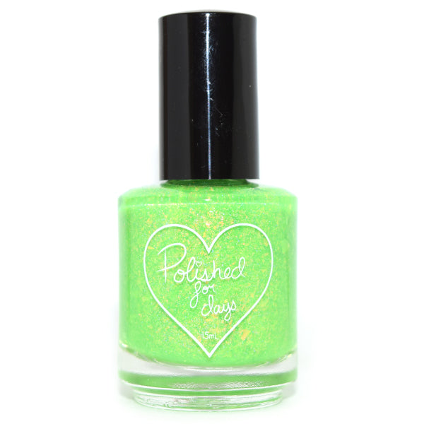 Polished for Days Oogie Boogie bright green nail polish
