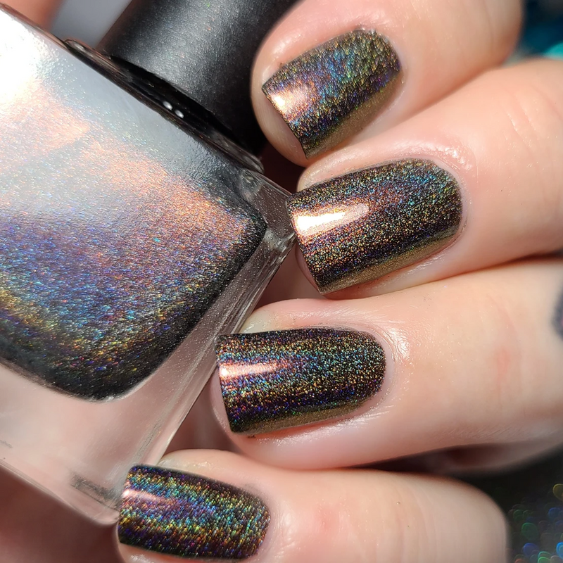 Wildflower Lacquer Harley black holographic nail polish with copper red shimmer