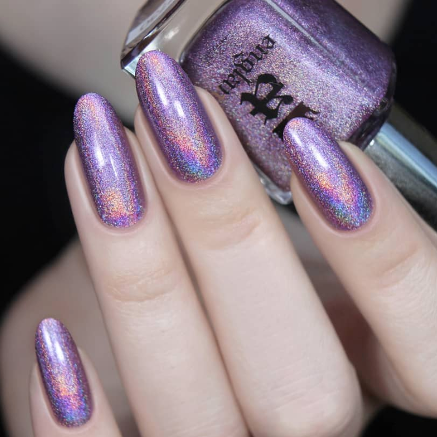 A-England Lady Jane Grey muted lavender holographic nail polish swatch
