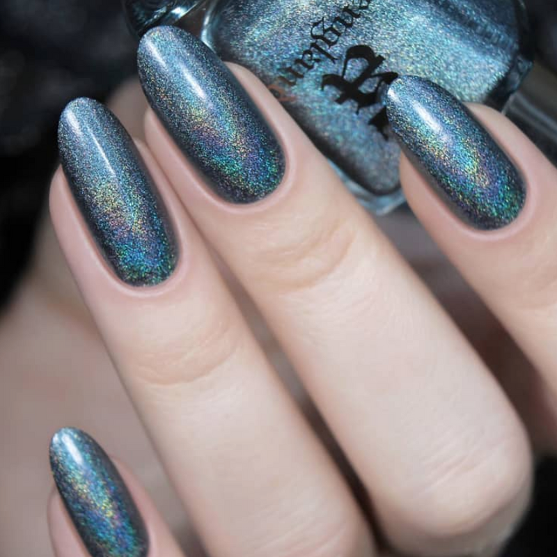 A-England If The Ravens Leave The Tower blue-green teal holographic nail polish swatch