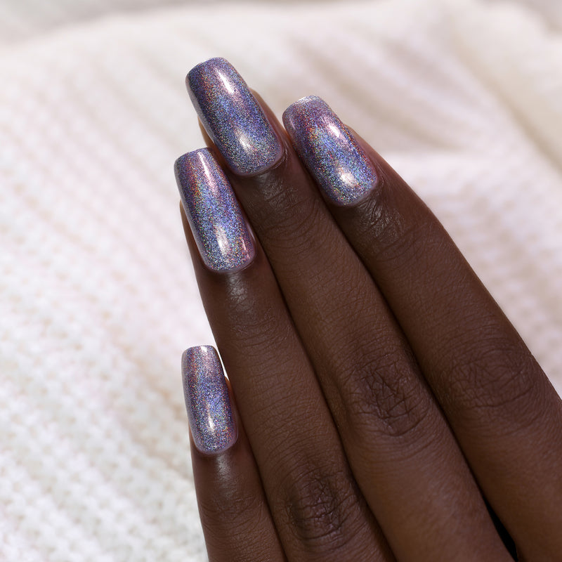 ILNP Staying In soft violet ultra holographic nail polish swatch