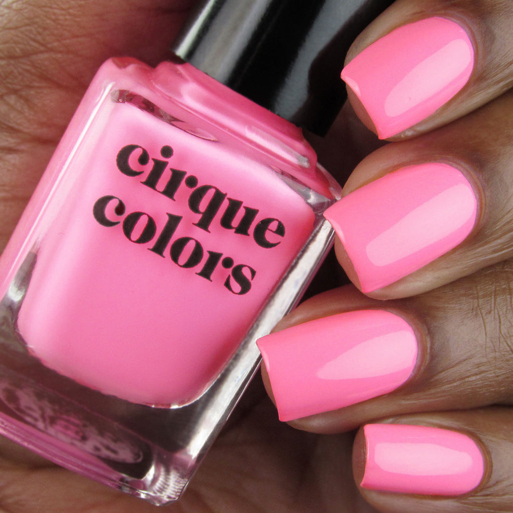 Cirque Colors Valley of the Dolls pink neon creme nail polish swatch Vice 2020 Collection
