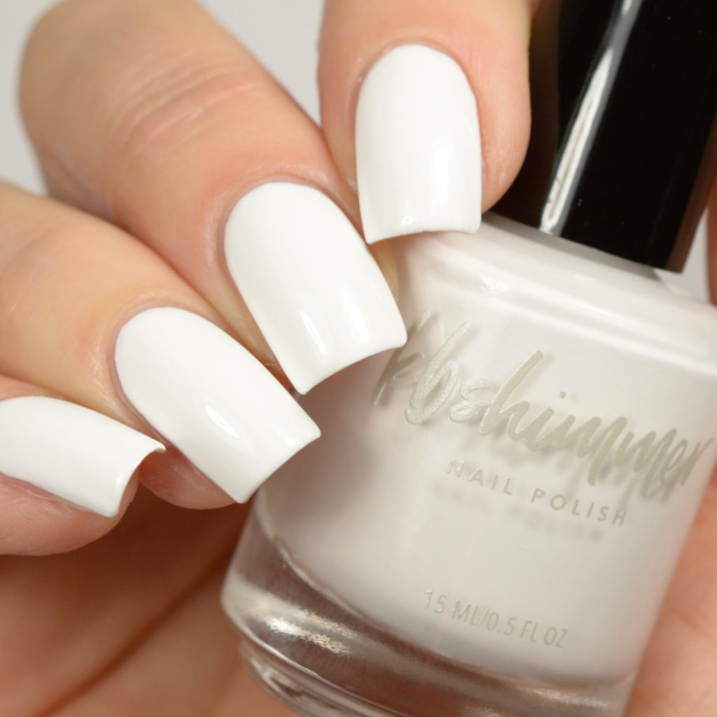 KBShimmer White Here White Now white creme nail polish swatch