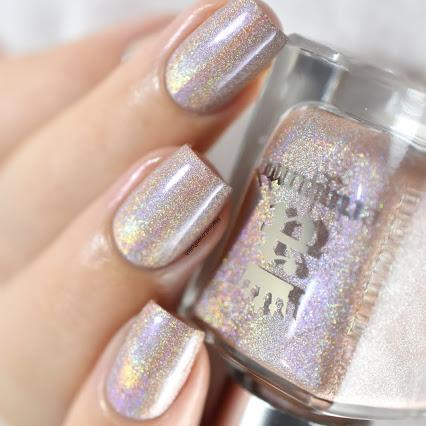 A-England Carnaby Street beige-pink holographic nail polish swatch