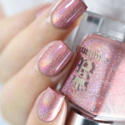 A-England Covent Garden coral pink holographic nail polish swatch