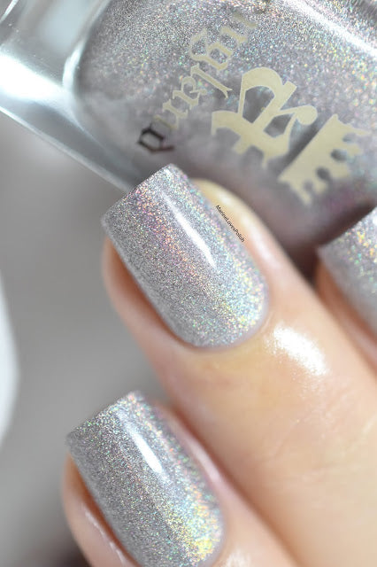 A-England King's Road grey-beige holographic nail polish swatch