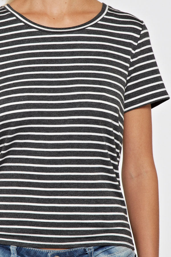 Split Back Striped Top
