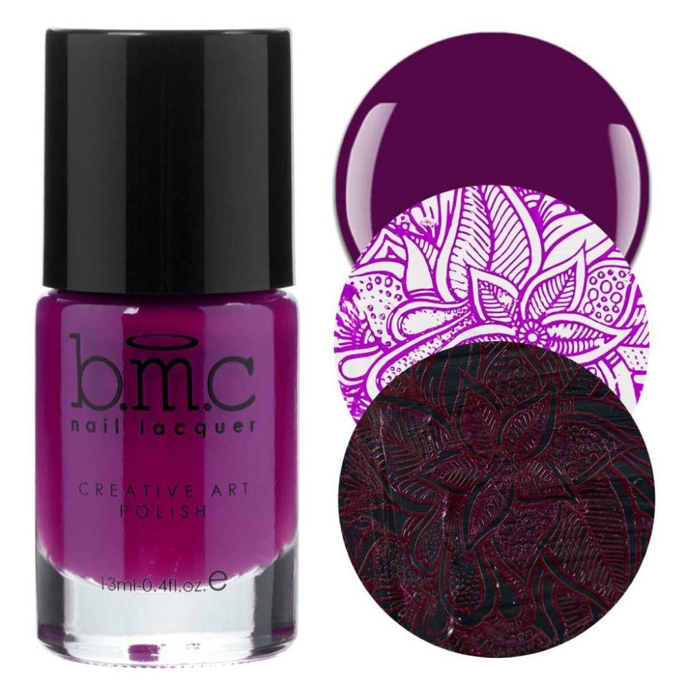 Bundle Monster Shadow Chaser dark purple stamping nail polish