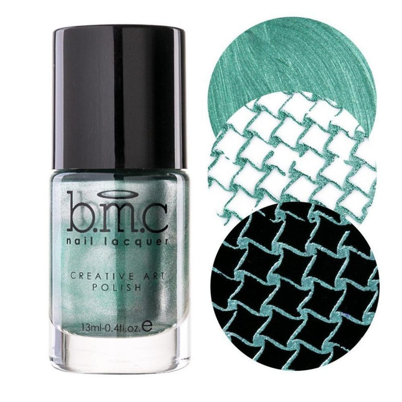 Bundle Monster Peridot green metallic stamping nail polish