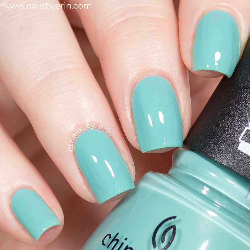 China Glaze Can't Stop Branchin' turquoise satin creme nail polish swatch Trolls World Tour Collection